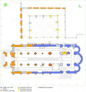 Plan de la Collégiale au niveau du rez-de-chaussée, avec report des phases de construction et de transformation de l'église entre les 12e et 19e siècles (document Christian de Reynier sur base relevé Archéotech, 2006).