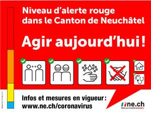 Coronavirus: niveau d'alerte rouge dans le canton de Neuchâtel